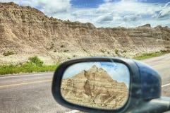 Vue de miroir de montagne de bad-lands Photos stock