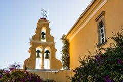 Vue de Monastry dans Palaiokastritsa, ville à Corfou, Grèce photographie stock libre de droits