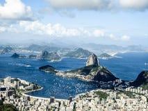 Vue de montagne de Cordova de montagne de Sugarloaf et de ville de Rio de Janerio, Brésil Photo libre de droits