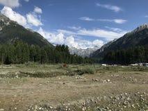 Vue de montagne et de forêt de ciel photos libres de droits