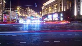 Vue de Moscou de nuit à la rue de Tverskaya clips vidéos