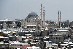 Vue de mosquée de Suleymaniye de tour de Galata photo stock
