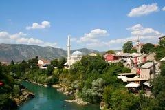 Vue de Mostar et de rivière Neretva Image libre de droits