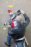 Vue de moto et de cavalier ci-dessus Photographie stock