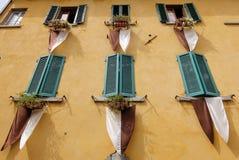 Vue de mur jaune avec les abat-jour de fenêtre en bois verts Photos libres de droits