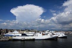 Vue de Naples d'un bateau Images libres de droits