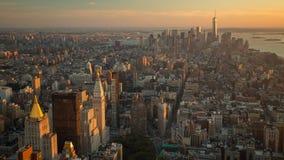 Vue de New York de timelapse de coucher du soleil d'Empire State Building banque de vidéos