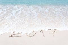 Vue de Noël gentil et de plage tropicale de thème de nouvelle année Photographie stock