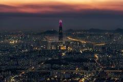 Vue de nuit au-dessus de Séoul Image libre de droits