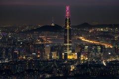 Vue de nuit au-dessus de Séoul Photo stock