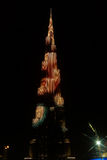 Vue de nuit au gratte-ciel de Burj Khalifa, Dubaï, EAU Photo libre de droits