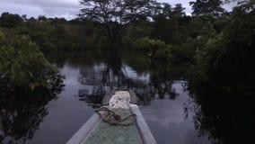 Vue de nuit de bateau à la rivière banque de vidéos