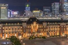 Vue de nuit de côté de Marunouchi de gare ferroviaire de Tokyo dans le ch photos libres de droits