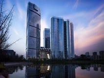 Vue de nuit de Chengdu images stock