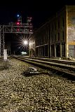 Vue de nuit de chesapeake et de chemin de fer de l'Ohio - Thurmond, la Virginie Occidentale Images stock