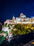 Vue de nuit d'église de San Pietro Caveoso, Sassi di Matera, le sien photographie stock libre de droits
