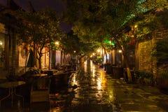 Vue de nuit d'allée de Kuanzhai à Chengdu Photographie stock