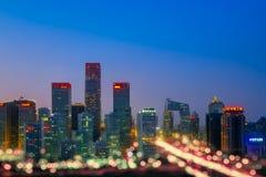Vue de nuit d'architecture de CBD dans Pékin, Chine images libres de droits