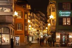 Vue de nuit d'Augustinergasse avant Noël Images stock