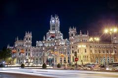 Vue de nuit d'hôtel de ville de Madrid en Espagne Images stock