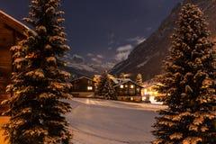 Vue de nuit d'hiver de la vallée de tasch Image libre de droits