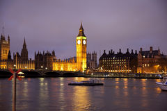 Vue de nuit d'oeil de Londres, Londres R-U Images stock