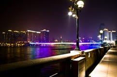 Vue de nuit dans la digue de Canton Photographie stock