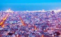 Vue de nuit de Barcelone Photo stock