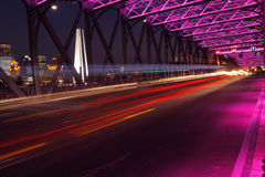 Vue de nuit de Changhaï de la passerelle de jardin Photographie stock libre de droits
