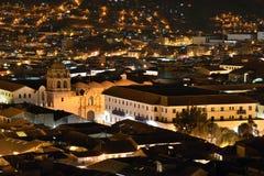 Vue de nuit de Cusco, Pérou Photographie stock