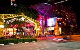 Vue de nuit de décoration de Noël à la route de verger de Singapour le 19 novembre 2014 Photos libres de droits