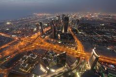 Vue de nuit de Dubaï Photographie stock libre de droits