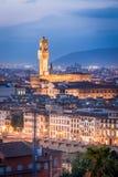 Vue de nuit de Florence Images libres de droits