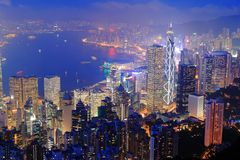 vue de nuit de Hong Kong Photo stock