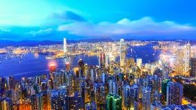 Vue de nuit de Hong Kong Victoria Harbor Photo stock