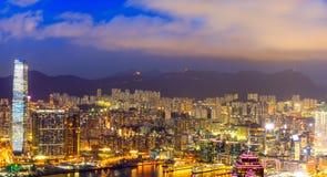 Vue de nuit de Hong Kong Victoria Harbor Image stock