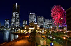 Vue de nuit de l'illumination colorée du Japon Yokohama Images libres de droits