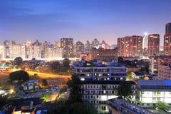 Vue de nuit de la communauté de Jiangjunci Photographie stock libre de droits