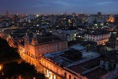 Vue de nuit de La Havane, Cuba Image stock