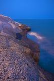 Vue de nuit de la plage en pierre dans Ténérife Images stock