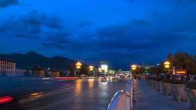 Vue de nuit de Lhasa Photo stock