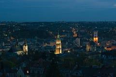 Vue de nuit de Lviv Image stock
