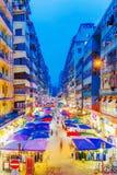 Vue de nuit de marché en plein air de fa Yuen image stock