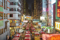 Vue de nuit de Mongkok, Hong Kong Images libres de droits