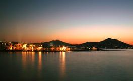 Vue de nuit de Naoussa, Paros Images stock