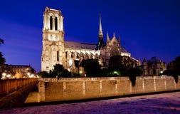 Vue de nuit de Notre Dame de Paris de Notre Photographie stock libre de droits