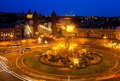 Vue de nuit de Plaza de Espana photographie stock libre de droits