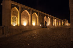 Vue de nuit de pont de Khajoo photo libre de droits