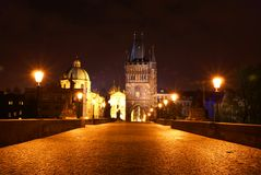 Vue de nuit de Prague Photo libre de droits