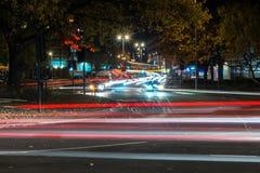 Vue de nuit de route BRITANNIQUE d'autoroute Photographie stock